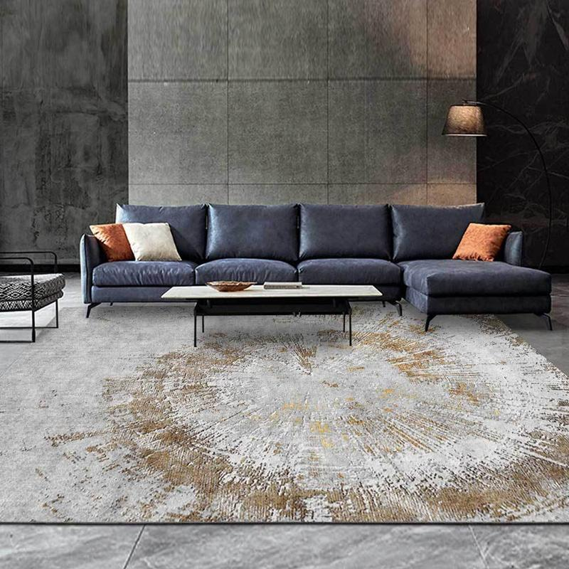 Modern Minimalist Living Room Large Area Rugs Abstract Gray Gold Annual Ring Pattern Non Slip Carpets Bedroom Bedside Floor Mat Carpet Contractors Carpet Installation Costs From Newcute 19 46 Dhgate Com
