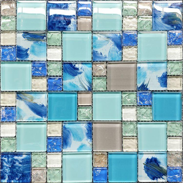2021 blue light green gray glass mosaic