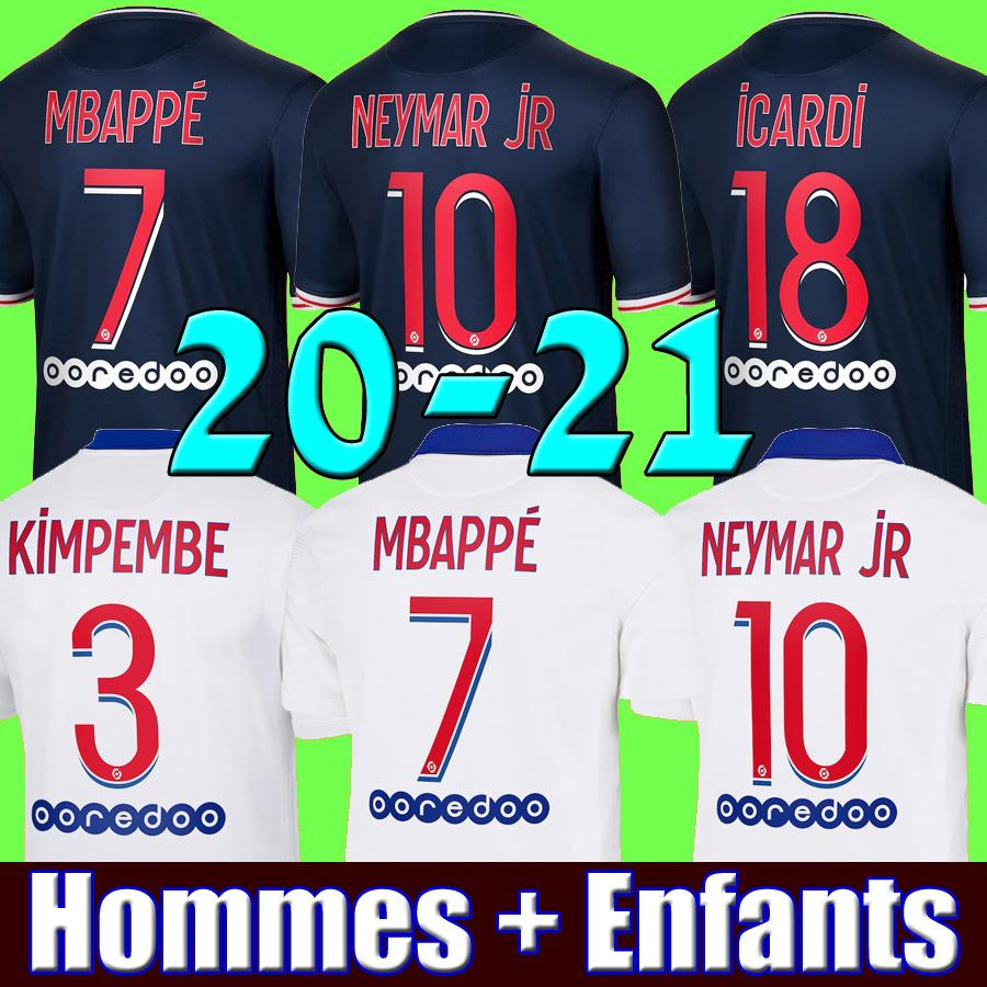 grosshandel maillots de fussball kit 20 21 psg mbappe fussball trikot 2020 2021 paris neymar jr di maria icardi marquinhos trikots camisetas cavani