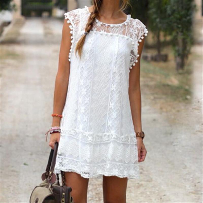 Compre Boho Womens Lace Bordados Vestido Transparente Casual Lace Verão  Solto Partido Beach Holiday Branco Mini Vestido Vestidos Curtos Sexy De  Qiongqi, $149,37   Pt.Dhgate.Com