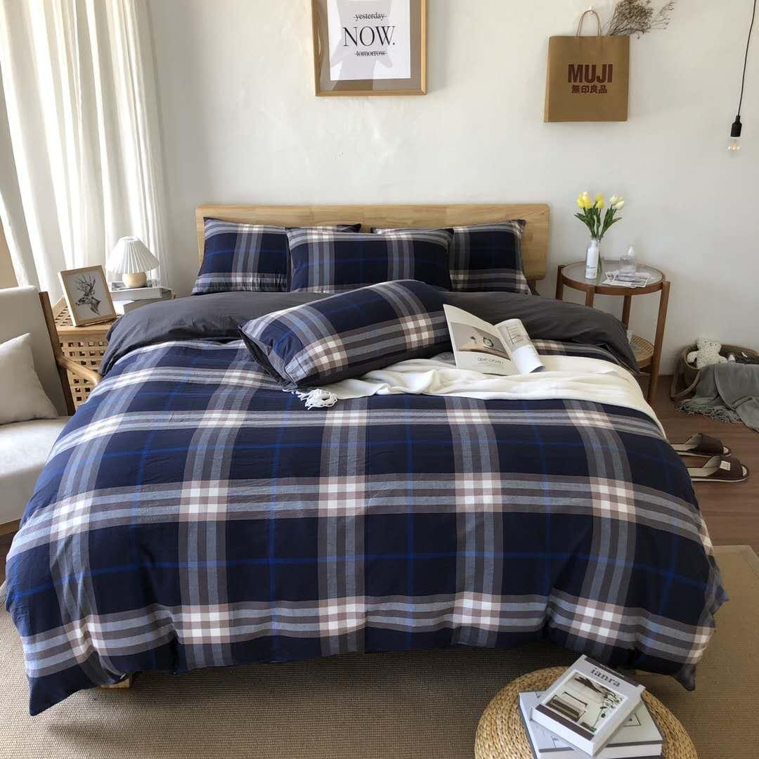 Dark Blue Bedding Sets Plaid Cotton Bedding Sets Cover Modern Queen Size Quilt Cover Bed Sheets Pillowcases Duvet Cover Set Cheap Bedroom Comforter Sets Buy Duvet Covers Online From Chic Fashion 104 16 Dhgate Com