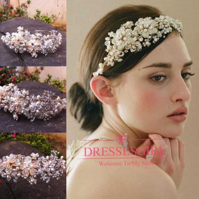 new 2015 crystal tiaras hair accessories beaded gold blossom hair vine  headpiece beaded wedding headpiece bride hair headpieces cpa096 ivory  bridal