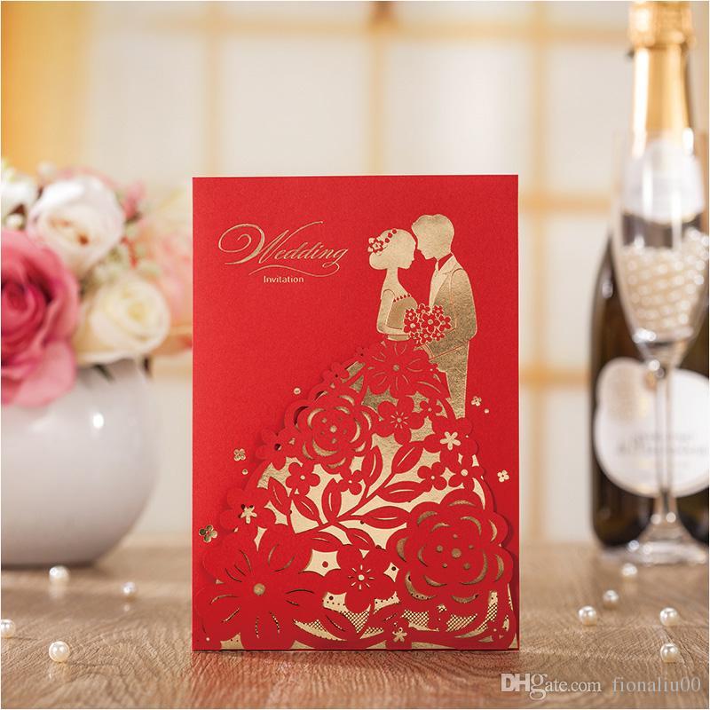 acheter elegant laser cutting couple carte dinvitation de mariage fleur impression personnalisee mariage invitations enveloppe invitations casamento