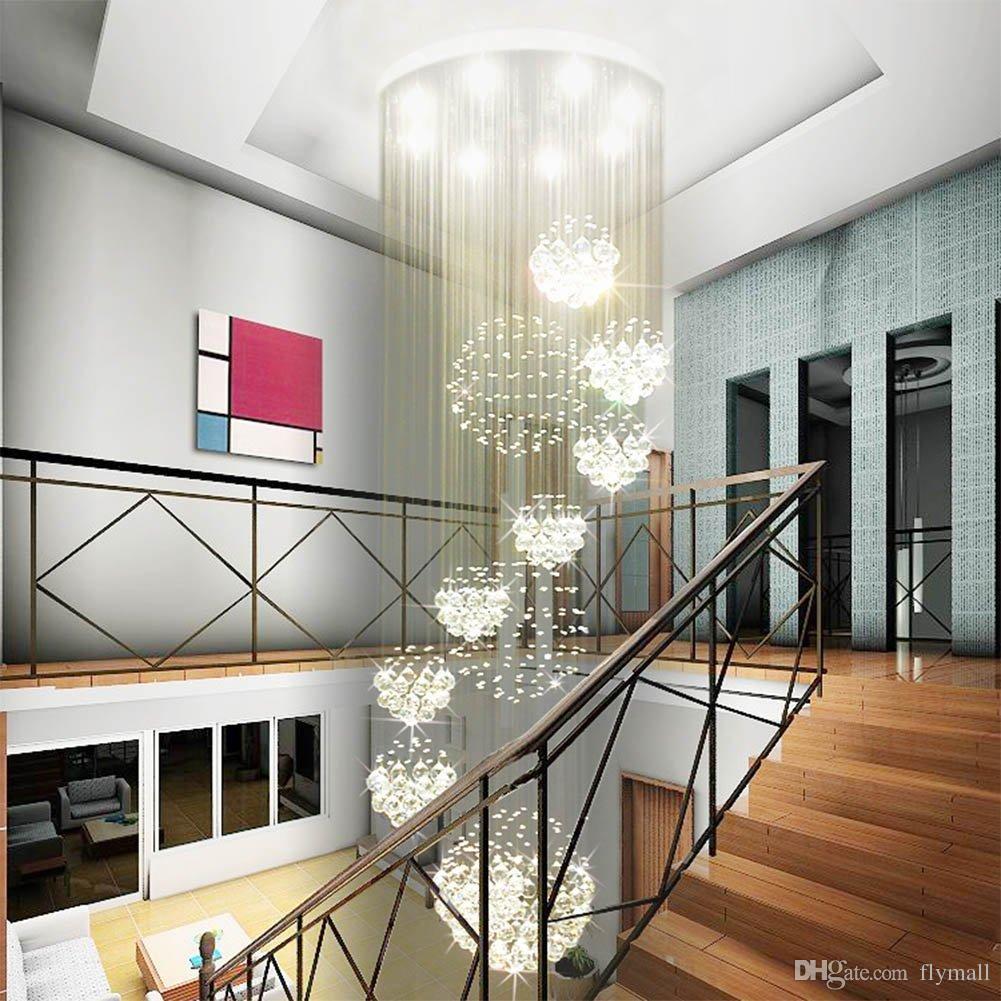 acheter moderne grand lustre en cristal lumiere goutte de pluie goutte en cristal sphere plafonnier luminaire longue en cristal escalier lampe flush