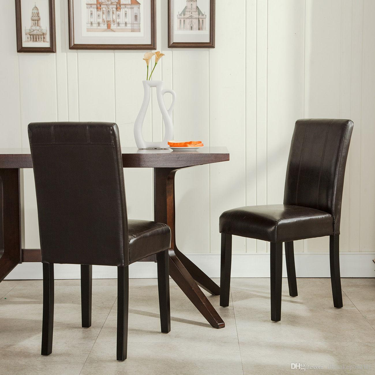 Of 2 Elegant Design Furniture Leather Parsons Dining Room Chairs Seat Brown From Dhmakepossible 63 92 Dhgate Com