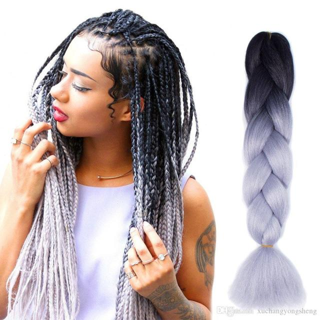 kanekalon ombre braiding hair synthetic crochet braids twist 24inch 100g ombre two tone jumbo braid hair extensions more colors wholesale hair