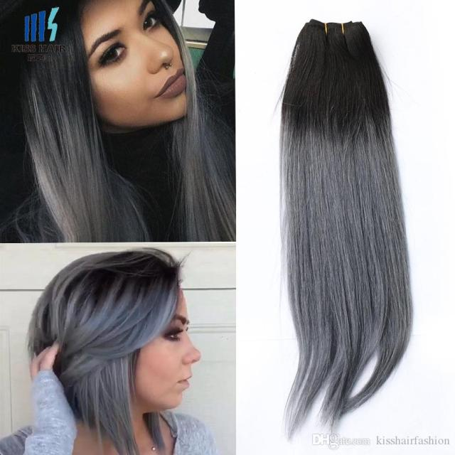 300g two tone t 1b dark grey ombre human hair weave bundles good quality colored brazilian peruvian malaysian indian straight hair extension european