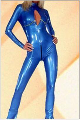 acheter wetlook bleu brillant cuir catsuit costume crotchless buste ouverte faux cuir combinaison sexy latex body femmes discotheque porter de 18 73