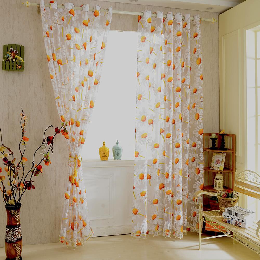 acheter nouveau blanc orange 1 2 5m de tournesol fenetre panneau sheer voile tulle rideaux decoratifs pour rideaux salon chambre maison decor de