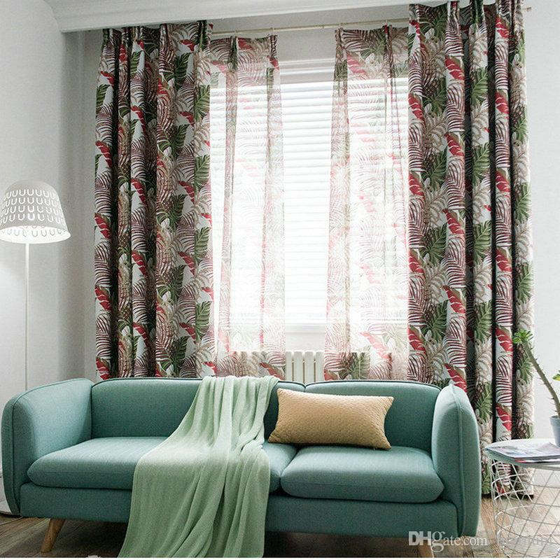 acheter moderne motif tropical imprime rideaux blackout feuilles vertes pour salon rainforest tulle rideau pour chambre rideaux drapeaux de 4 64 du