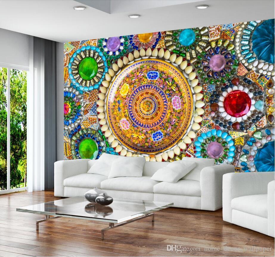 acheter personnalise canape fond murs fresque non tisse europeen vintage boheme jade mosaique carrelage mural fond decran murale de 30 52 du