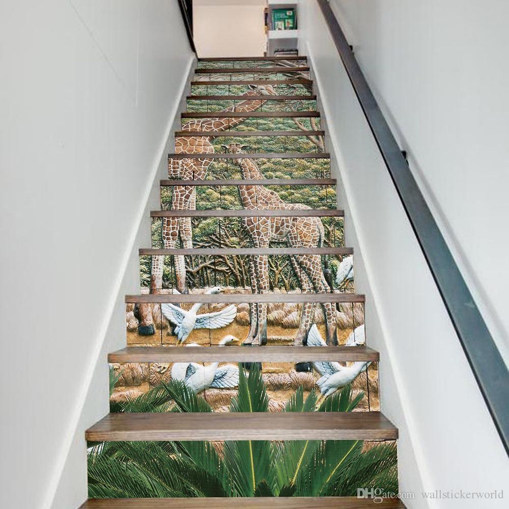 Creative Diy 3D Stairway Stickers Giraffe Ceramic Tiles Pattern | Stairs Floor Tiles Design | Step | Shop | Stair Riser | Wood | Stair Flooring