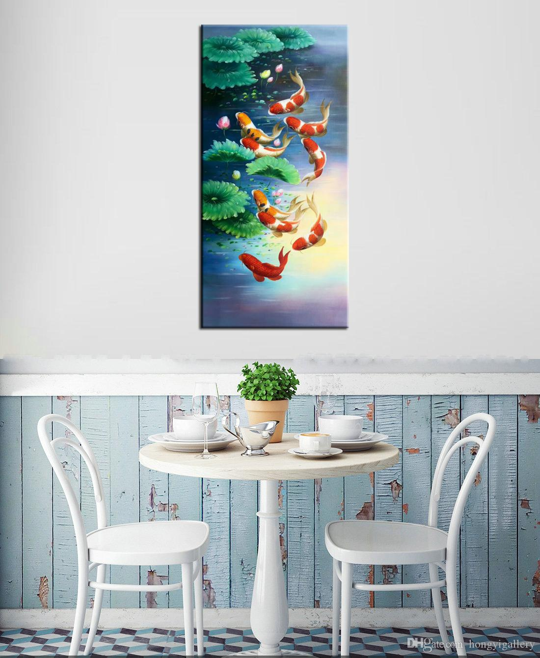 2019 China Wind Koi Art Wall Art Feng Shui Fish Oil Painting 100 Hand Painted Animal Modern Canvas Living Room Bedroom Home Decoration Afs024 From