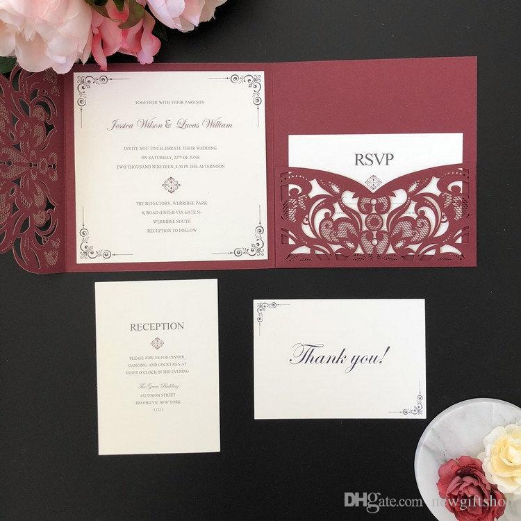 Burgundy Shimmer Square Laser Cut Wedding Invitation Diy Wedding Party Invites With Rsvp Card Free Printing Custom Baby Shower Invitations Diy Wedding Invitation Kits From Newgiftshop 1 41 Dhgate Com