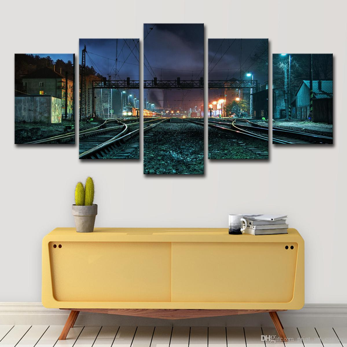 2019 Canvas Painting Wall Art Home Decor Beautiful Rustic Railroad Tracks Pictures For Living Room Modular Hd Prints Poster From Print Art Canvas