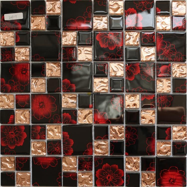 2021 black red rose glass mosaic