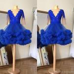 2021 Amazing Royal Blue Real Photo Short Homecoming Prom Dress Ball Gown V Neck Long Sleeves Lace Applique Party Graduation Cocktail Dress Short Long Dresses Beautiful Short Dresses From Stunningdress88 65 88 Dhgate Com