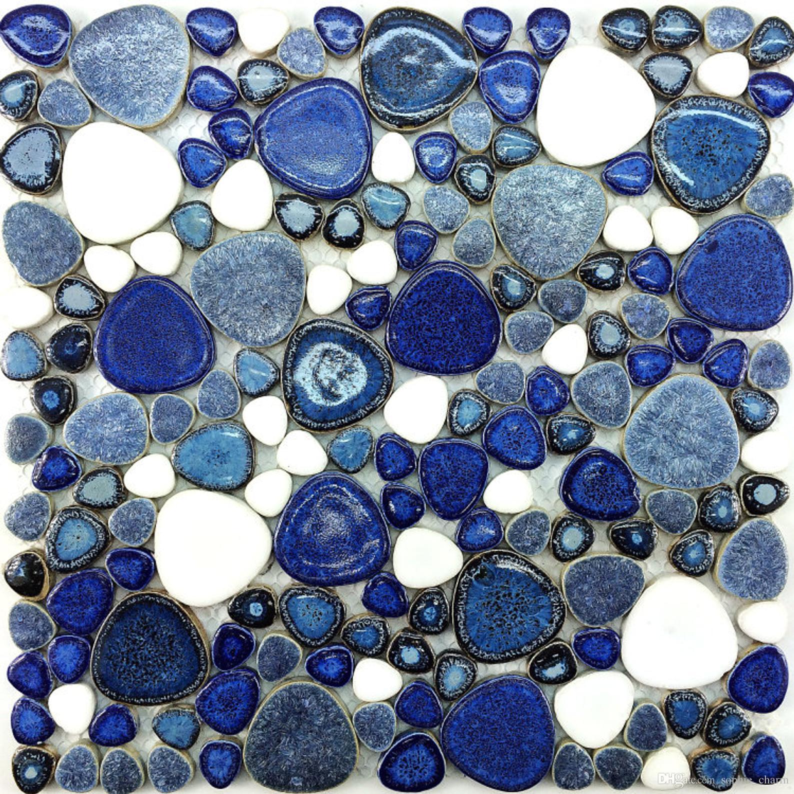 2021 glazed blue white pebble porcelain