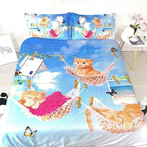 girls cat bedding sets twin sky blue
