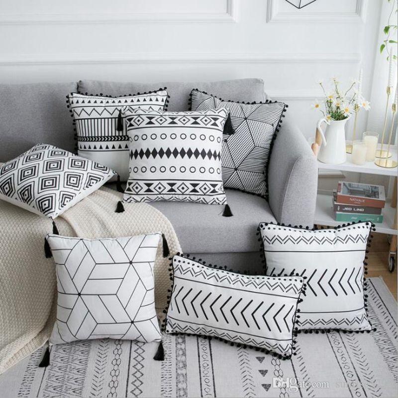cheap black and white boho cushion