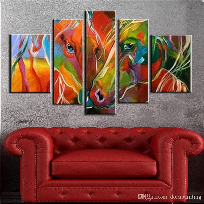 acheter art fait a la main peinture a lhuile sur toile coloree zebre peinture moderne pop mur de toile art salon decoration cheval photo de 45 46 du