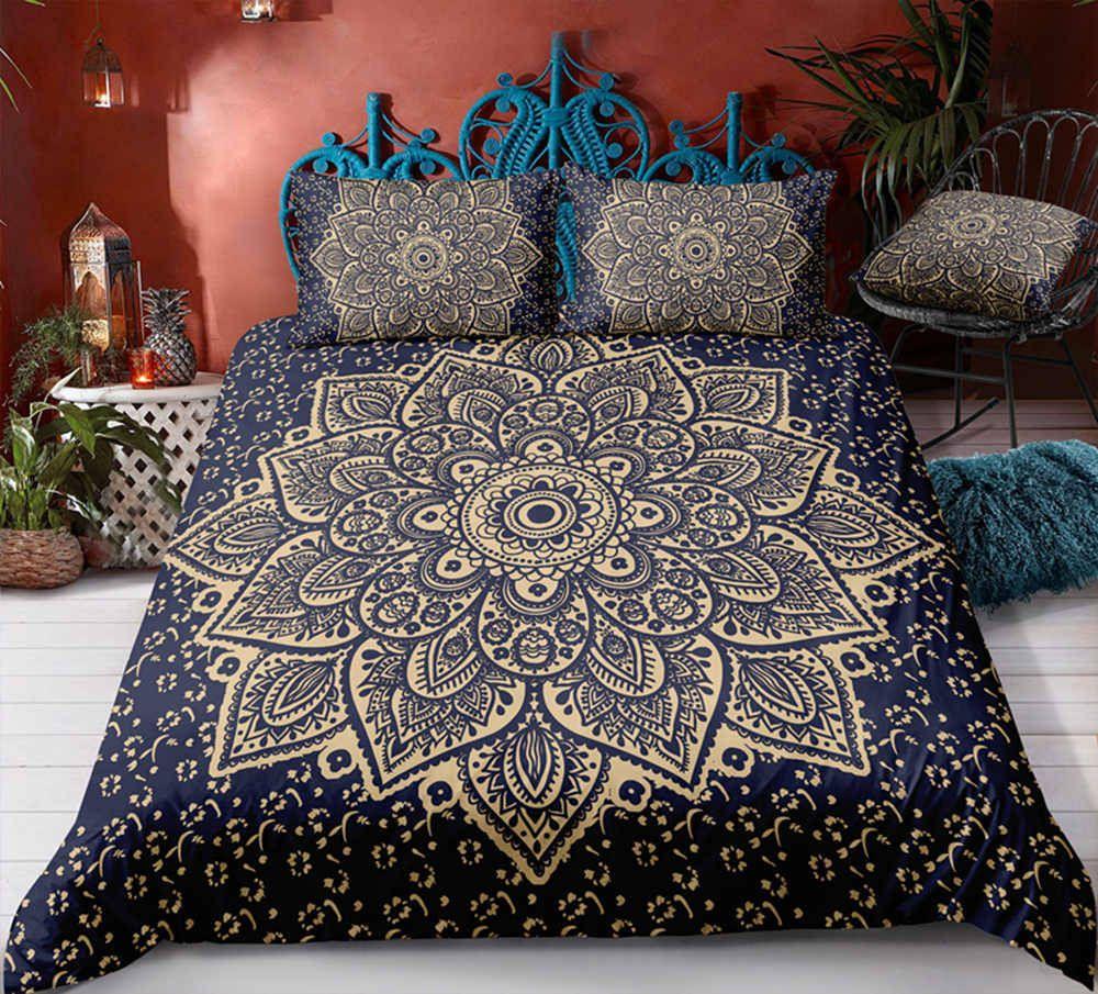 navy bohemia bedding set king size big