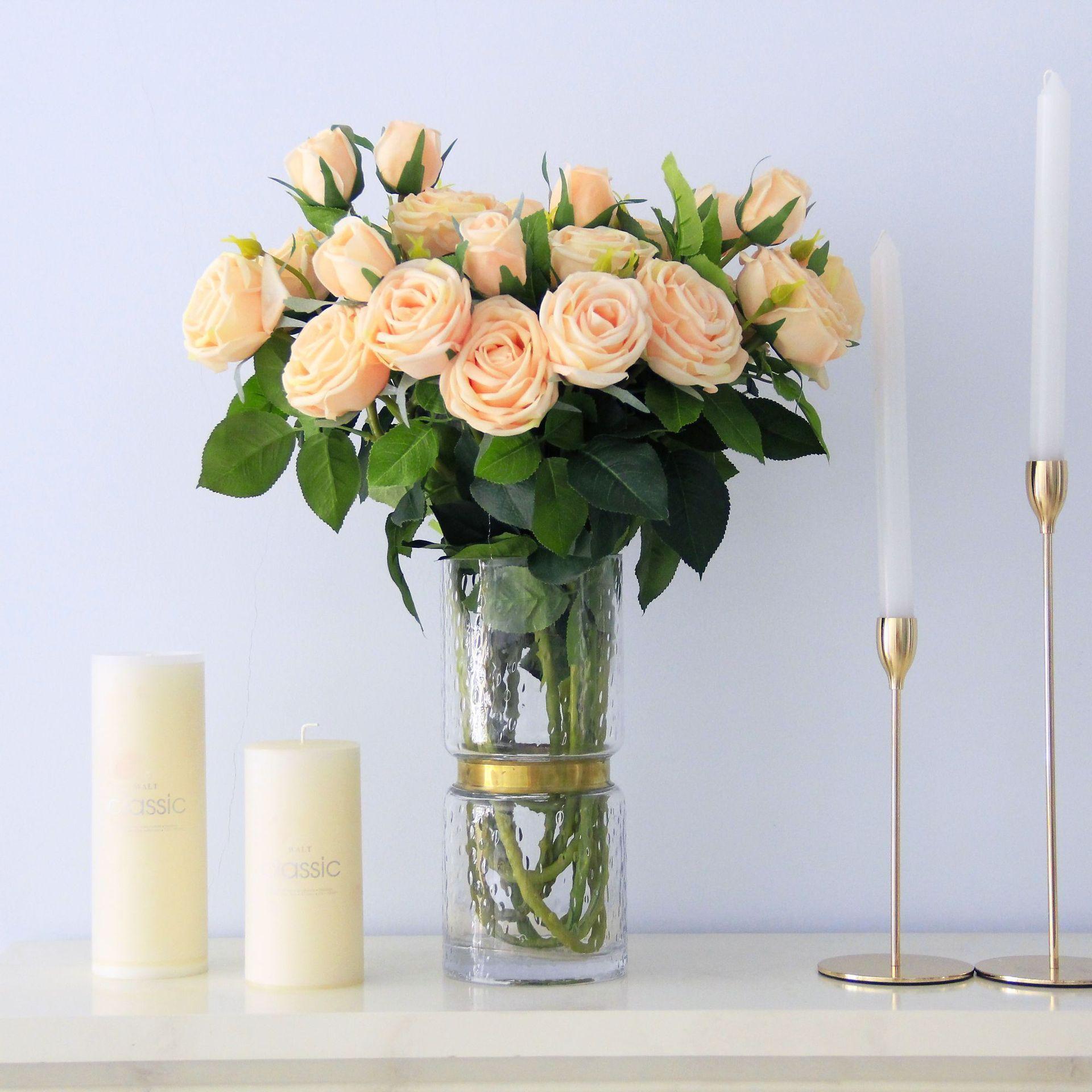 2019 71cm Wedding Decorations Flower Artificial Silk Rose Flower Head Home Party Handwork Diy Decor Simulation Flower Fake Flowers From Home Fashion