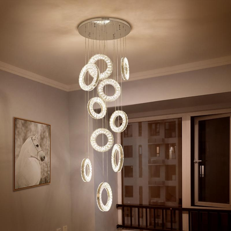 Led Crystal Chandeliers Modern Staircase Chandelier Fishing Line | Ceiling Design For Stairs Area | Stairwell | Accent Lighting | Cake Shop | Cafeteria | L Shape