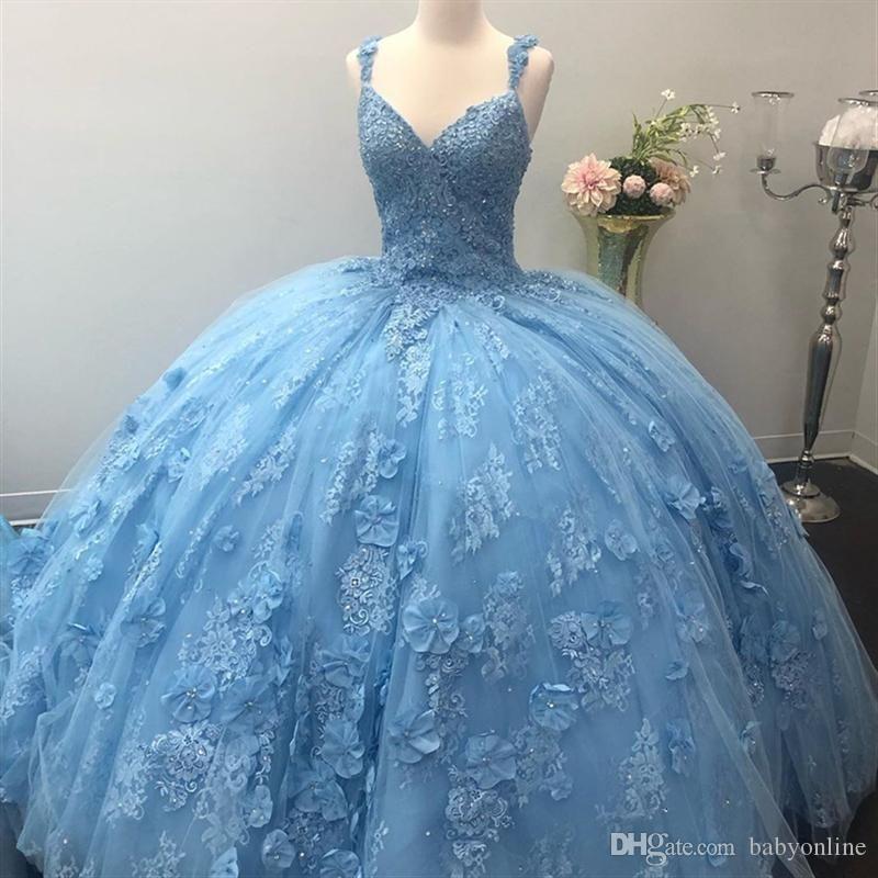Luz Do Céu Azul Quinceanera Vestidos Incríveis 3D Lace Apliques Feito À Mão  Flores Com Beads Vestido De Baile Doce 15 Vestidos Vestidos De Noite De  Springwedding, $876,25   Pt.Dhgate.Com