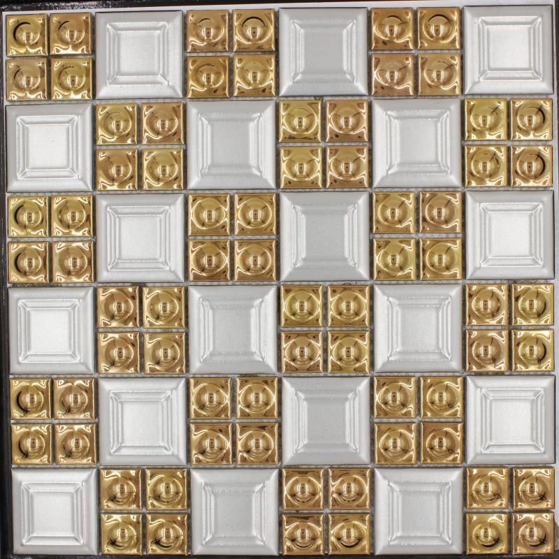 2018 Hot Sale Porcelain Gold White Color Square Mosaic