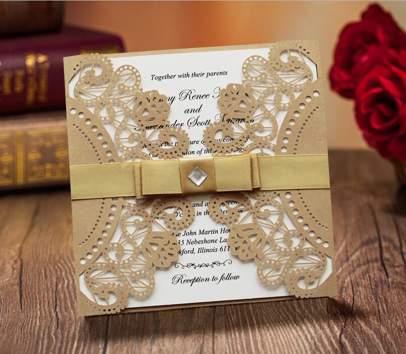 Cheap Ribbon Invitations Wedding