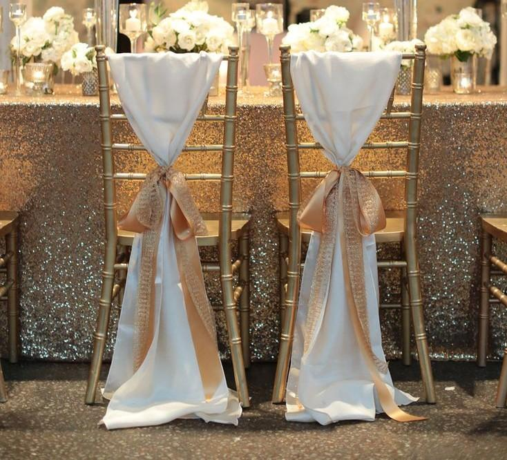 hot sale white taffeta chair sashes with golden champagne ribbon seqined organza most popular wedding favors long piping wedding decorations chair covers
