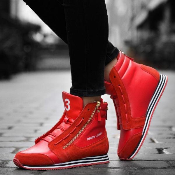 Hot Trendy High Top Mens Shoes Genuine Leather Fashion Men ...