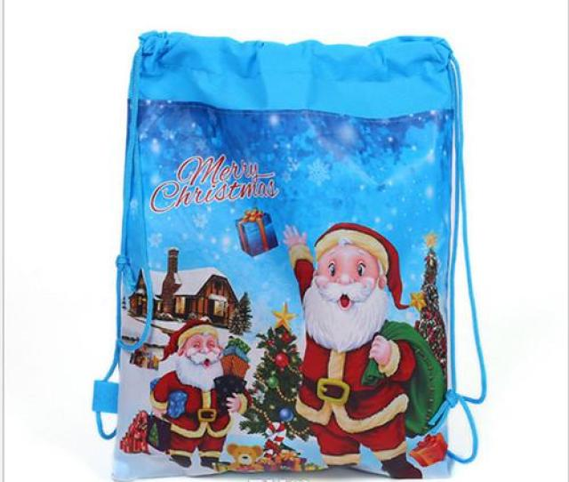 Christmas Drawstring Bag Santa Claus Non Woven Fabrics Printing Cm Toy Storage Bag Birthday Party Gift Bag For Girl Boy Hot Online With