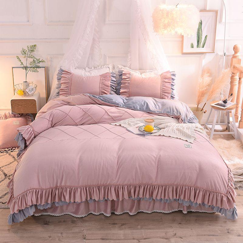 acheter ensemble de literie en velours de cristal super doux couette grand lit ensembles de princesse ensemble de lit de taille queen jupe de lit king