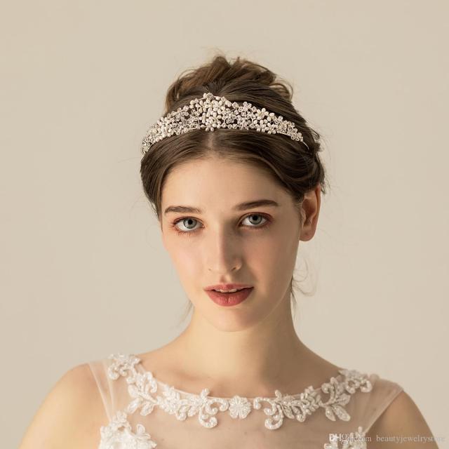 sliver/gold headband for bridal wedding hair jewelry pearls rhinestones gorgeous wedding hair accessories headpiece tiaras h290