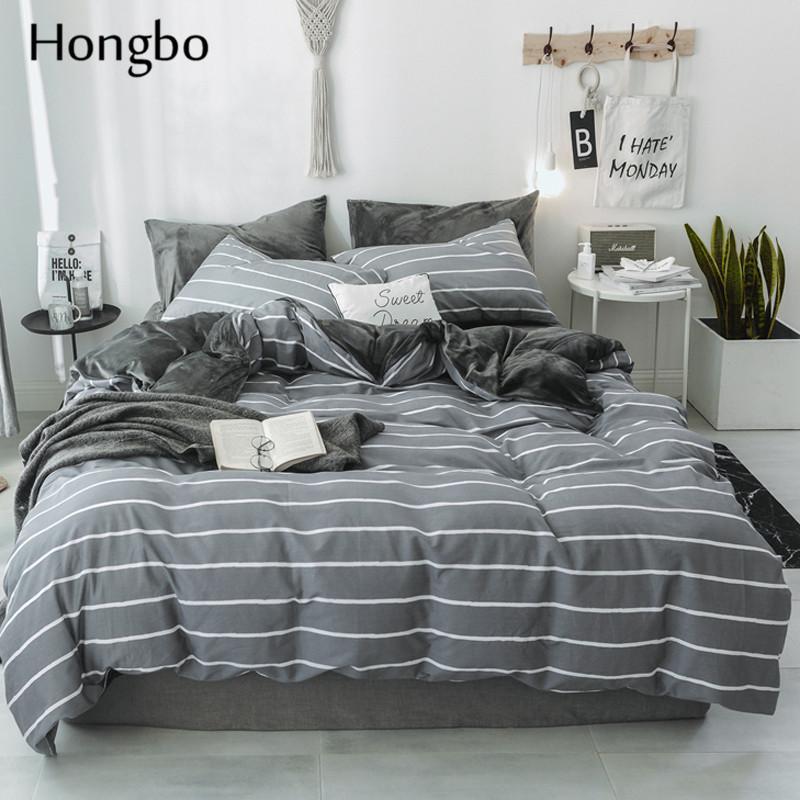 acheter hongbo raye housse de couette classique ensemble de literie en cristal de flanelle linge de lit ensemble geometrique coton simple drap plat lit de