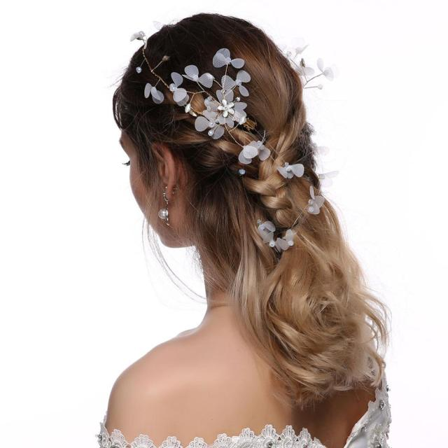 boho bridal hairbands vintage crystal pearl wedding hair accessories clover chiffon princess rhinestone hair vine elegant ladies
