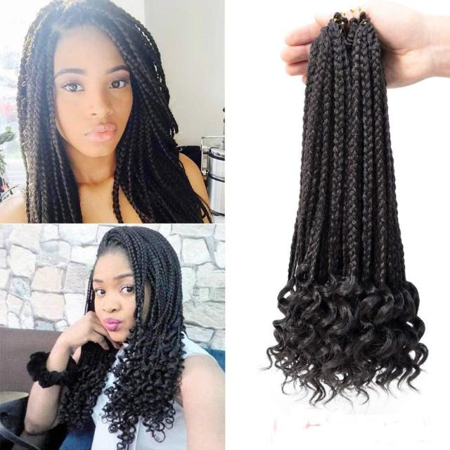 hot! 18 black box braids crochet hair with curly ends 24roots/pcs goddess box braids hair extensions kanekalon fiber braiding hair twist