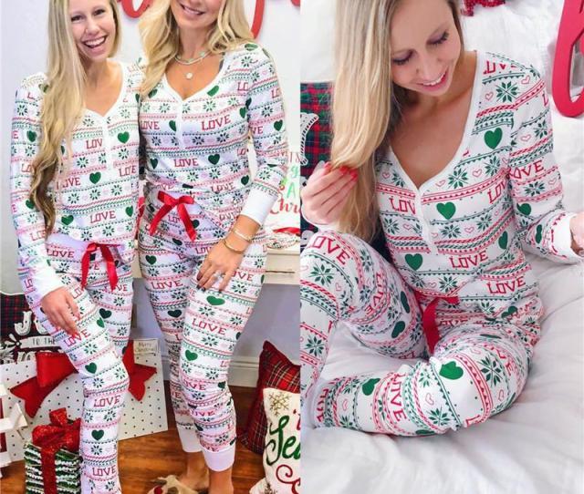 Fashion Women Cotton Christmas Pajamas Sets Warm Sleepwear Pyjamas Long Sleeve V Neck Tops Pencil Pants Xmas Outfits S Xl From Shutie   Dhgate