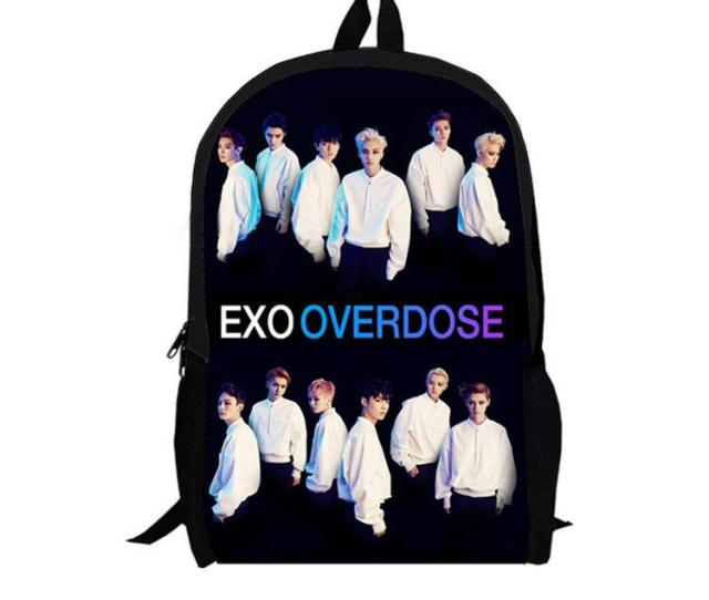 Exo Over Dose Fashion School Backpack Men Book Bag Famous Brand D Printing Pack Travel Bags For Teenagers Girls Boys Fans Black Leather Backpack Backpacks