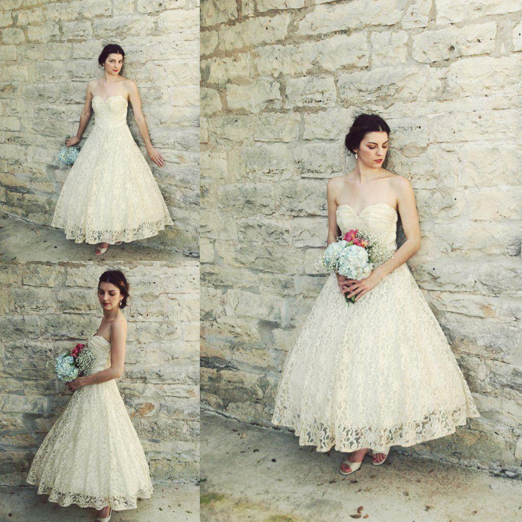 Discount Vintage S Tea Length Wedding Dresses Antique