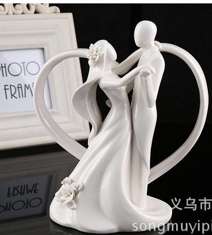 Ceramic Wedding Cake Topper Of Dancing Bride And Groom With Heart     Ceramic Wedding Cake Topper Of Dancing Bride And Groom With Heart Couple  Figurine Wedding Table Decoration Awesome Weird Gifts Best Funny Gifts From  Zjbaddy