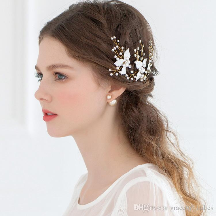 cheap bridal hair accessories petite enamel leaf bobby pins wedding hair pins fashion u shape pin tiaras for wedding headdress real image bridal headpieces