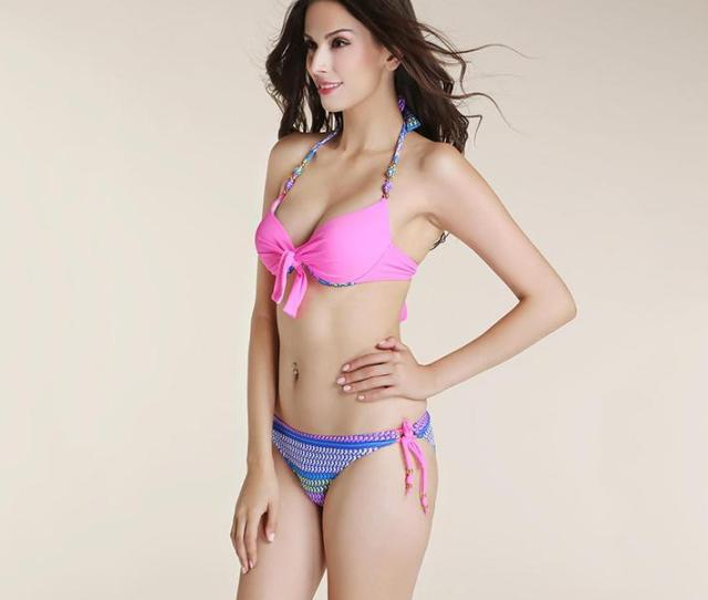 2019 Sexy Young Girls Push Up Bikinis Set Swimwear 2015 Women Summer Backless Colorful Hippocampus Print Padded Underwire Strappy Bow From Pleasedmeetyou