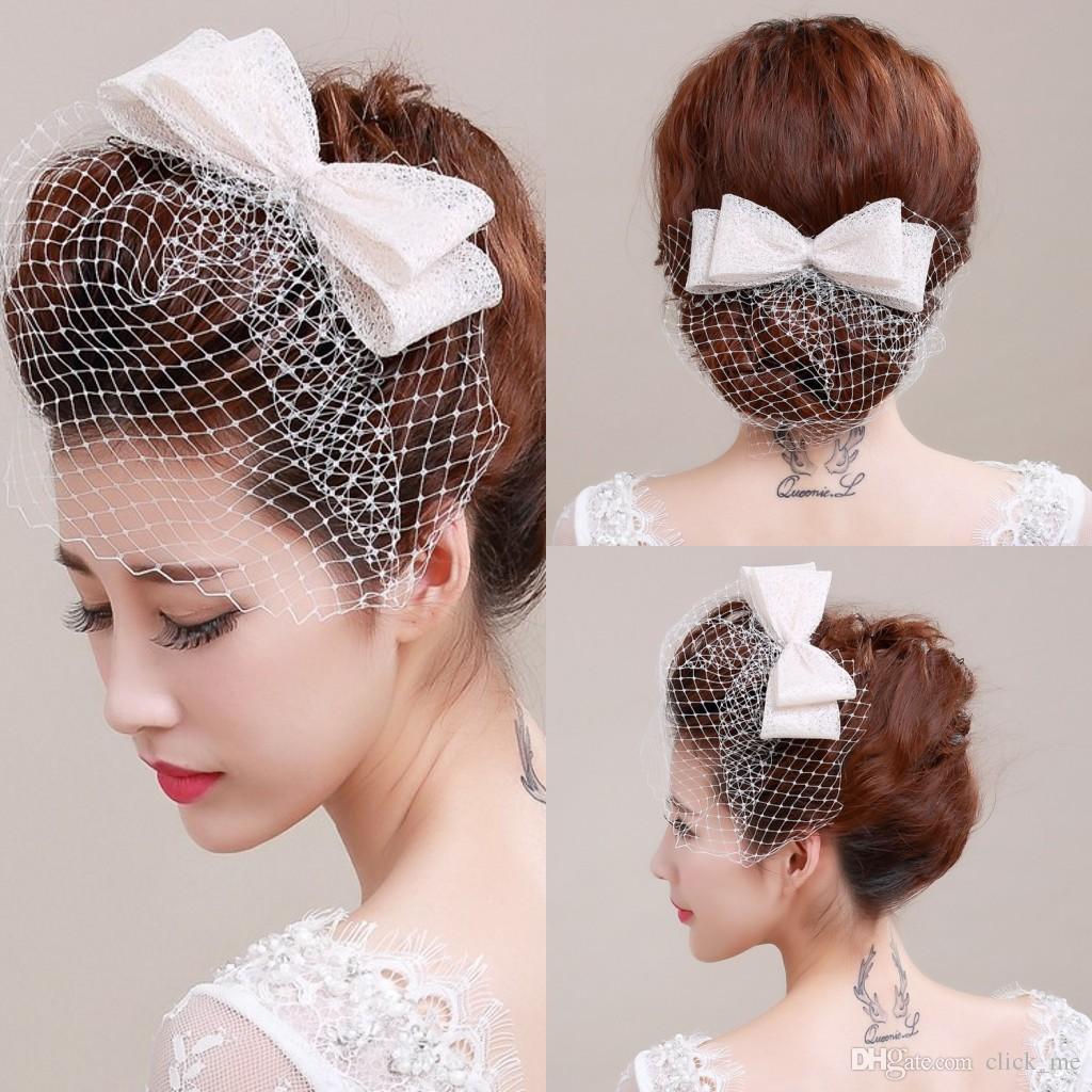 ivory bird cage face veil with bow wedding veil headwear netting face short feather fascinator hearpiece with tulle cheap veil bridal flower hair clips