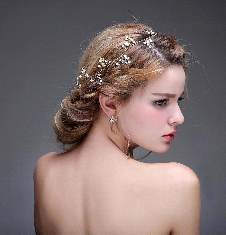 2016 new crystal pearl party wedding hair accessories bridal headband tiara headwear silver pearls bridal crown headbands cpa471 cheap hair extensions hair