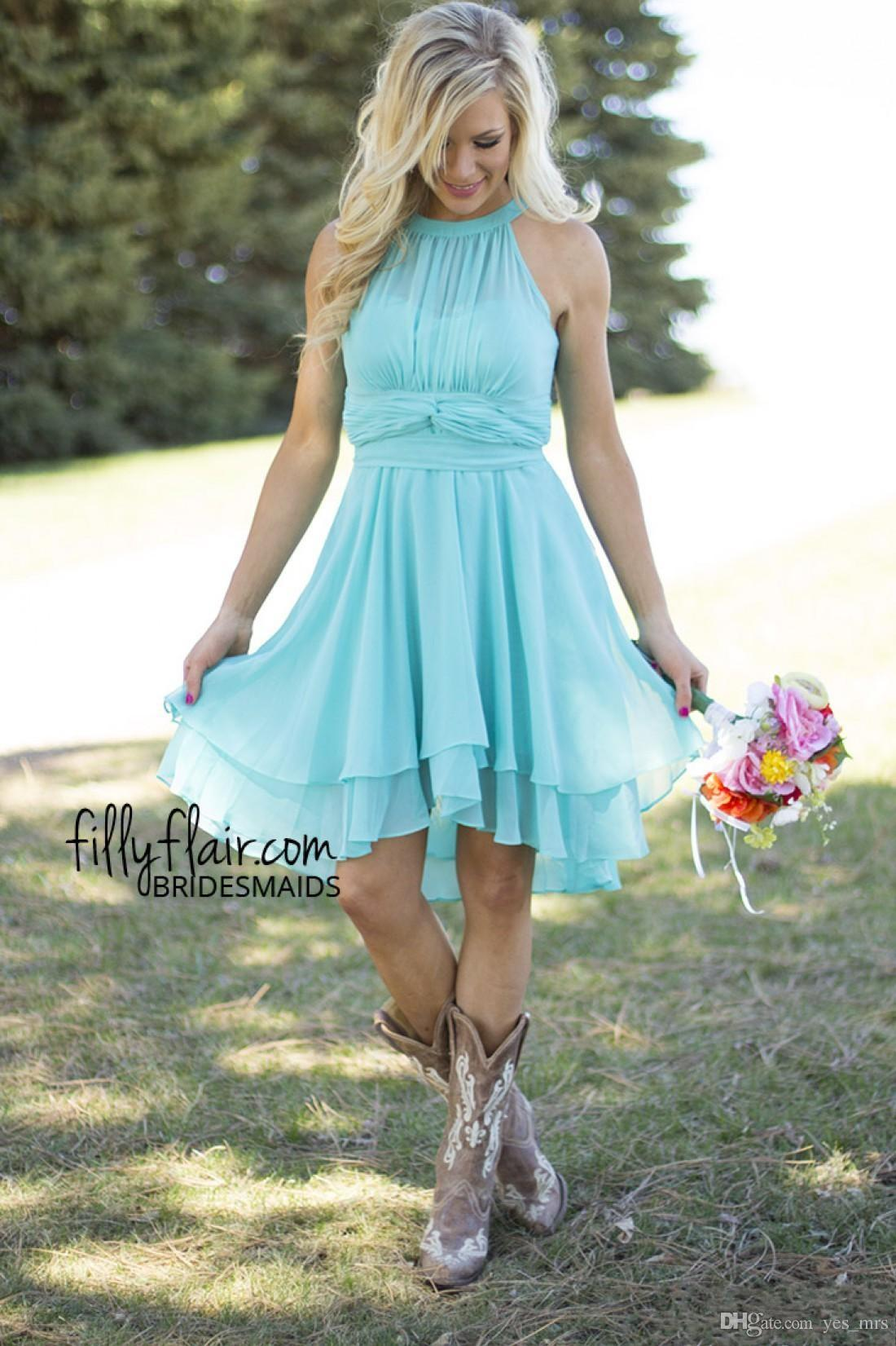 2016 Light Sky Blue Country Bridesmaid Dresses Short Jewel