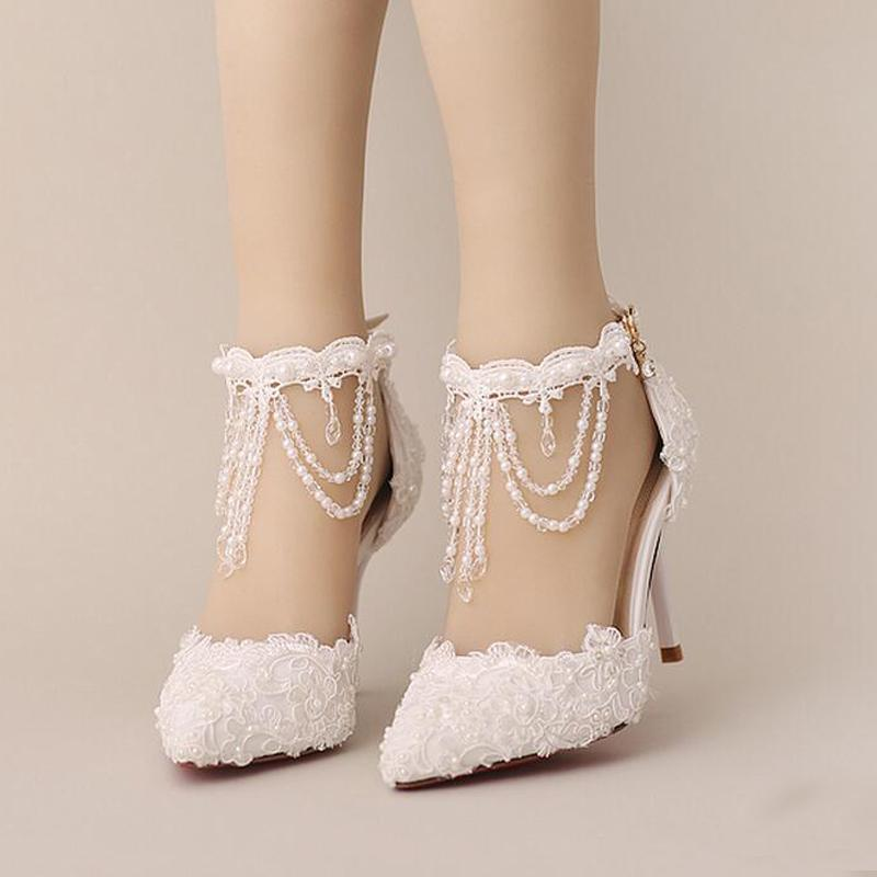 New Summer White Pearl Crystal Lace Bridal Shoes Beautiful