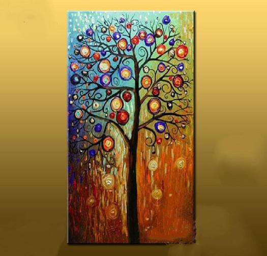 Hand Painted Abstract Oil Painting Large Canvas Art Cheap Modern Tree Paintings Living Room Wall Pictures Home Decor